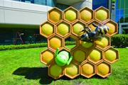 The honeycomb lawn sculpture is a tribute to Google's first tablet release.