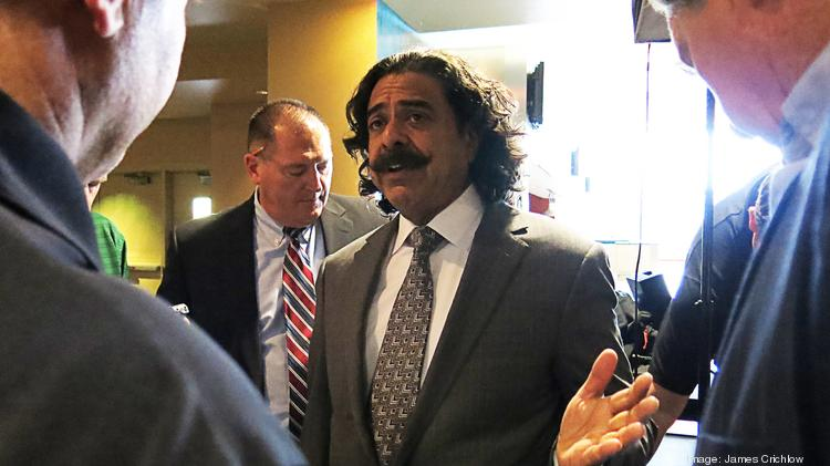 Jacksonville Jaguars Owner Shad Khan speaks to the media after the State of the Team address Tuesday Afternoon.