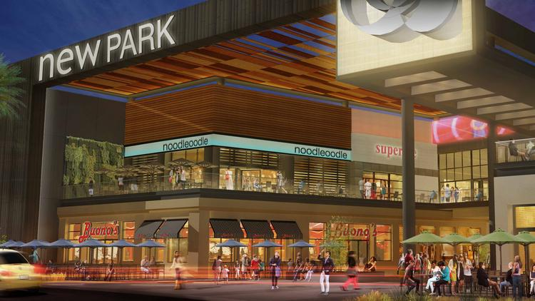 This rendering shows the restaurant pavilion planned as part of the $40 million revamp of the Newark mall. The national shopping-center operator also plans extensive remodeling and reworking of the south-facing side of the mall into a two-level Restaurant Pavilion with outdoor patios on both levels,