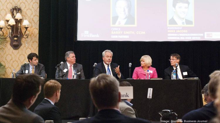 CRE Perspective panelists, left to right: Mike Jacobs, of Cushman & Wakefield | Cornerstone; Barry Smith, of Eakin Partners; Terry Smith, of Colliers International; Peggy Sells, of Cassidy Turley; and Steve Massey, of CBRE Inc.