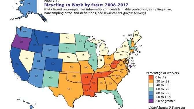 A state-by-state comparison showing the percentage increase of the number of workers who bike to work as their primary mode of transportation.