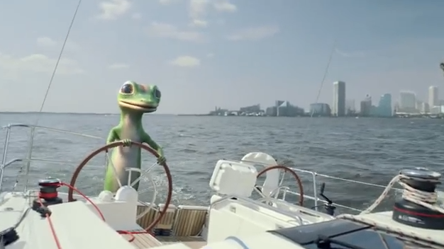 A GEICO ad shows Baltimore's skyline in reverse.