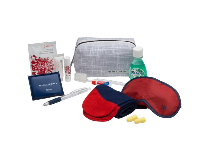 In July, US Airways will introduce new amenity kits in Envoy, its international business class.