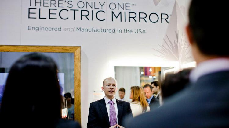Jim Mischel introduces new Electric Mirror products at the Hospitality Design trade show in Las Vegas.