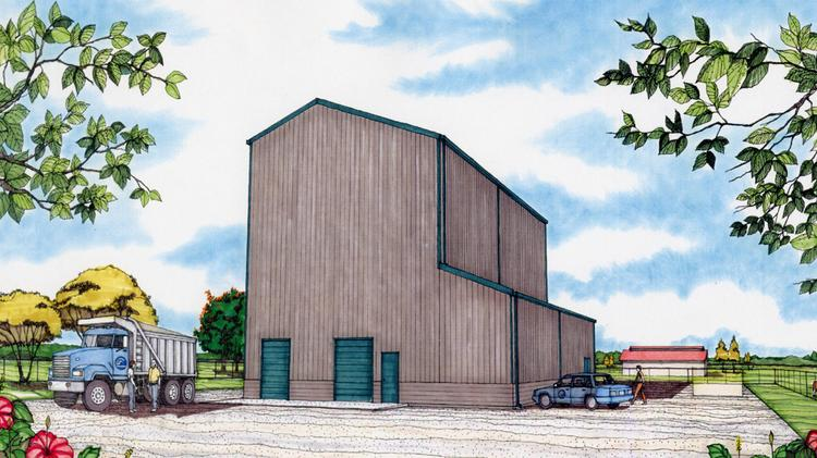 This rendering shows the proposed feed mill Hawaii Pacific University plans to build in Hilo. Ulupono Initiative, founded by eBay founder Pierre Omidyar, has donated $1 million toward the project.