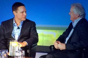 GE CEO Jeff Immelt (right) shared with startup investor Peter Thiel what he looks for in entrepreneurs at an interview at VentureScape, the National Venture Capital Association conference in San Francisco on Wednesday.