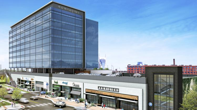 This rendering depicts Gulch Crossing, the first office building to be built in the Gulch, one of Nashville's hottest growth spots in the urban core. The building is designed by Earl Swensson Associates Inc., which itself will relocate to the building from its Midtown offices. The building is set to open by the end of next year.