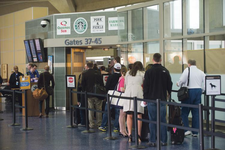 The security check-in line at Terminal B in Kansas City International Airport.