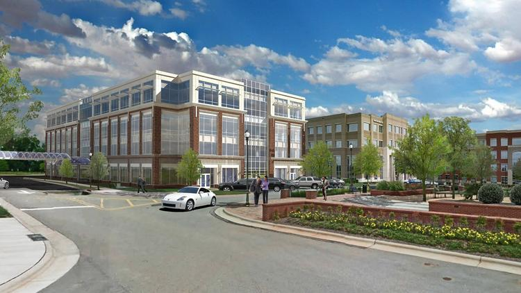 Artist rendering of the Wade III office building slated to begin construction in mid-summer in west Raleigh.