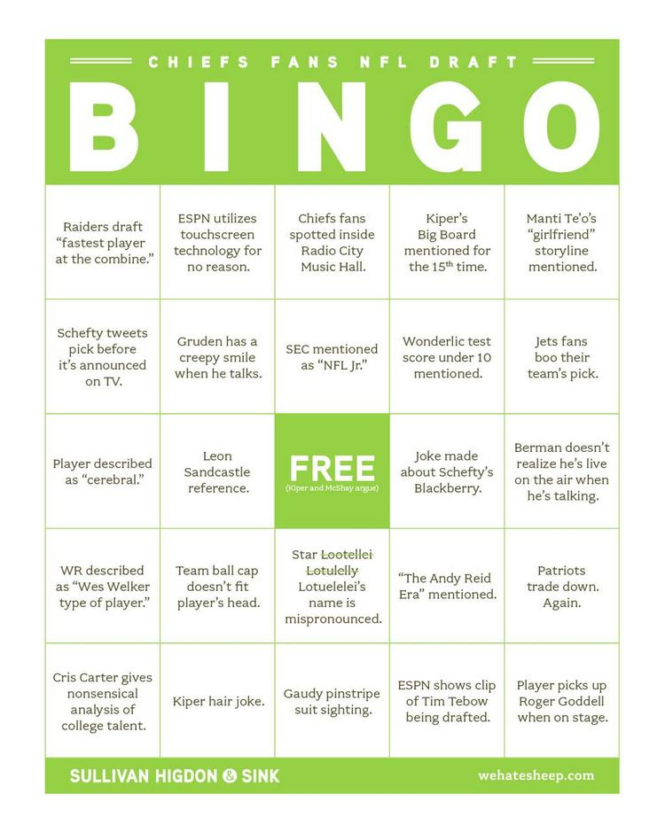 Sullivan Higdon & Sink created this Bingo card for watching the NFL draft.
