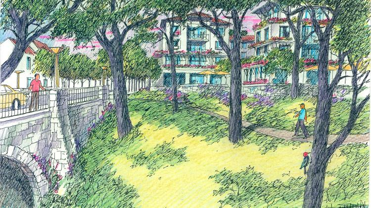 This rendering depicts a potential new neighborhood in Oak Knoll.