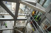 Every level of the hospital is visible from observation decks by each of the main entries.