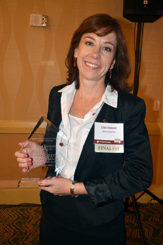 Outstanding Corporate Counsel - Private Company winner Lisa Inman of Raleigh-based Waste Industries.