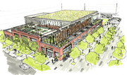 A rendering of the proposed redevelopment of the market, which would feature retail and restaurant and open space.