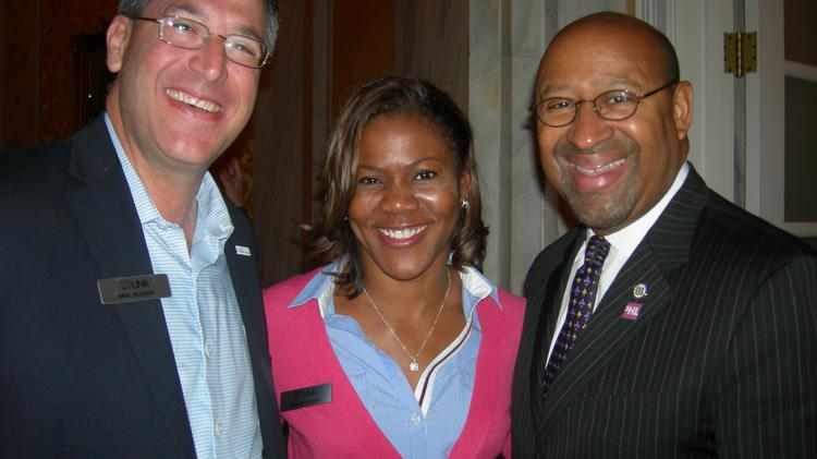 On the LINK trip May 7-10: Johns Creek Mayor Mike Bodker, from left; Candace Byrd, Mayor Kasim Reed's chief of staff; and Philadelphia Mayor Michael Nutter.
