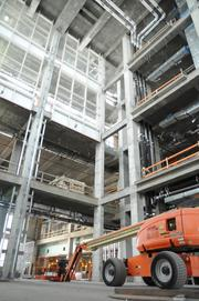 A dining room area will have an expansive view that extends the height of the hospital building.