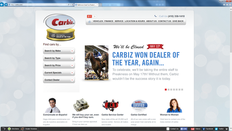 The Carbiz website announces to customers it will be closed Saturday so the company's employees can head to Pimlico Race Course.