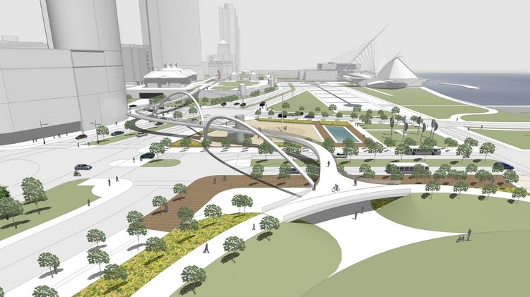 Lakefront plans also call for a pedestrian bridge crossing over North Lincoln Memorial Drive.