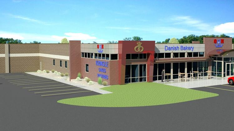 A rendering of the new bakery after the former car dealership is renovated.