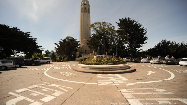 Coit Tower stands alone on the city's skyline.