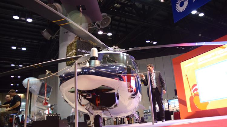 This Sikorsky S76B helicopter has been fitted with an autonomous flight system. During a 2013 trade show, a 9-year-old was able to successfully program a flight plan into the operating system trainer with no help.