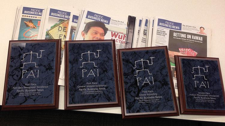 Pacific Business News took home four Pai Awards in the Hawaii Publishers Association's annual competition, include first-place honors for nondaily newspaper excellence, general website excellence and online reporting and second place in feature photography in the newsprint category.