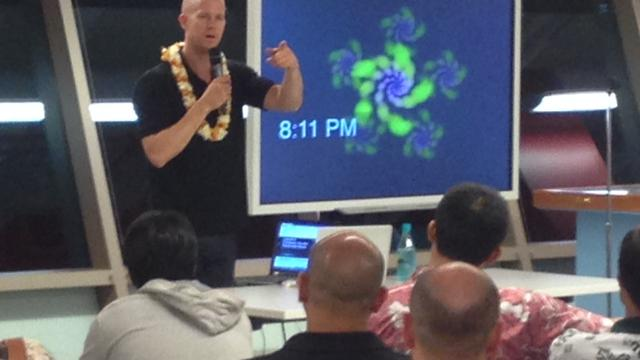 Tyler Crowley, one of the top startup mentors in the world, gives some advice to Hawaii's startup community on Wednesday night at Iolani School's Sullivan Center for Innovation and Leadership in Honolulu.
