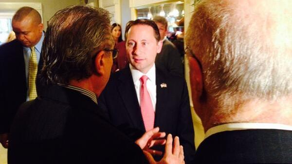 Republican gubernatorial candidate Rob Astorino attends a campaign fundraiser in Scotia, New York.