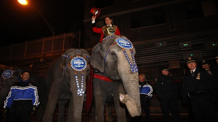 Chuck Wagner, ringmaster of Ringling Bros. and Barnum & Bailey Circus, shows off his elephant after emerging from the Queens Midtown Tunnel during Ringling Bros. and Barnum & Bailey's annual parade through New York, U.S., on Wednesday, March 19, 2008. Photographer: Andrew Harrer/Bloomberg News