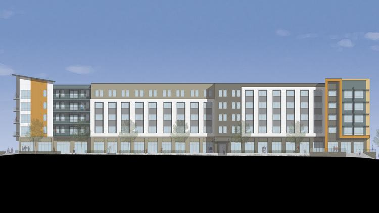 A rendering of Terra House, a mixed-use building with 192 apartments under development by SWH Residential Partners, of Atlanta. The architect is Smith Gee Studio, of Nashville.