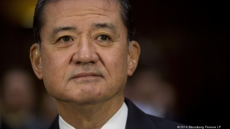 "Eric Shinseki, U.S. secretary of Veterans Affairs, arrives to a Senate Veterans' Affairs Committee hearing in D.C. on Thursday. Shinseki said he is ""mad as hell"" over allegations of treatment delays and cover-ups at VA health clinics in Phoenix and Fort Collins, Colorado."