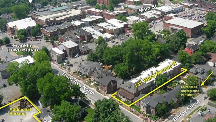An office building in downtown Franklin, outlined here in yellow, has been sold for $3.4 million.
