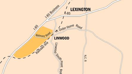 Robin Team of Carolina Investment Properties describes the location of a megapark taking shape in Davidson County as being off the Belmont Road exit of i-85 near Linwood. The tract borders one of the largest rail switching stations in the Southeast.