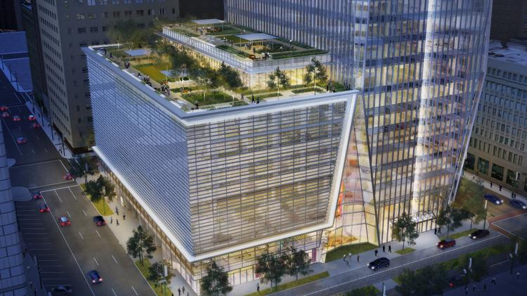 Plans for the building include a 30,000-square-foot, urban rooftop garden on top of the parking garage.