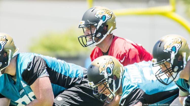 Jacksonville Jaguars rookie Quarterback Blake Bortles works out during the second day of rookie minicamp.