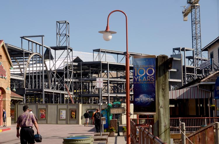 Construction at the former Amity location at Universal Studios is a suspected expansion of the Wizarding World of Harry Potter.