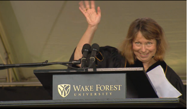 Former New York Times Executive Editor Jill Abramson delivered the commencement address at Wake Forest University on Monday, a few days after being ousted from that job.