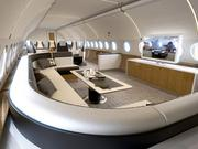 Airbus recently rolled out its ACJ319 Elegance, a corporate jet based on its A319 passenger aircraft. Here's a look at a possible design for a lounge.