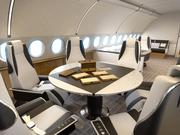 Airbus recently rolled out its ACJ319 Elegance, a corporate jet based on its A319 passenger aircraft. Here's a look at a possible design for a dining and conference area.