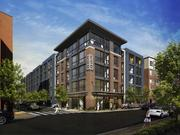 An artist rendering of Echo, one of three apartment buildings in Allston that is being marketed by the Mount Vernon Co.