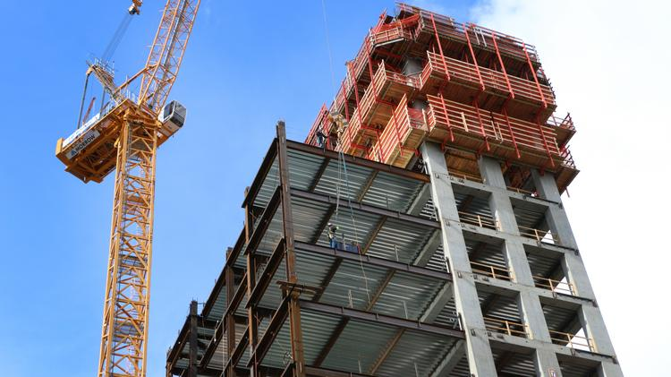 Park Avenue West, under construction at Southwest Park and Ninth in downtown Portland, has reached nearly half its eventual 30-story height.