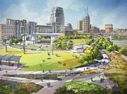 Rendering of West Riverfront Park, including the 2,200-seat amphitheater.