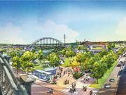 A rendering of the view of West Riverfront Park from the Shelby Pedestrian Street bridge.