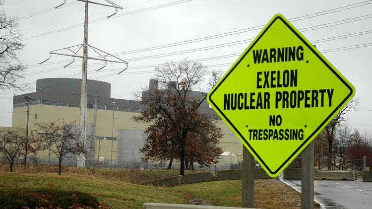 A sign marks the entrance to the Exelon Corp. Braidwood Nuclear Generating Station in Braidwood, Illinois.