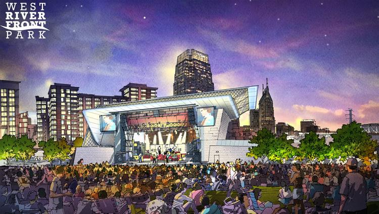 """West Riverfront Park will include """"The Green,"""" a 1.5-acre event lawn."""