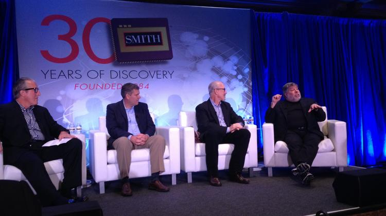 From left: Lee Ackerley, co-founder and co-owner of Smith; Marc Barnhill, chief trading officer for Smith; Bob Ackerley, co-founder and co-owner of Smith; and Steve Wozniak, co-founder of Apple