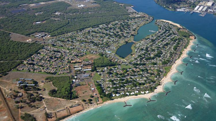 An aerial view of the Beach at Iroquois Point in West Oahu