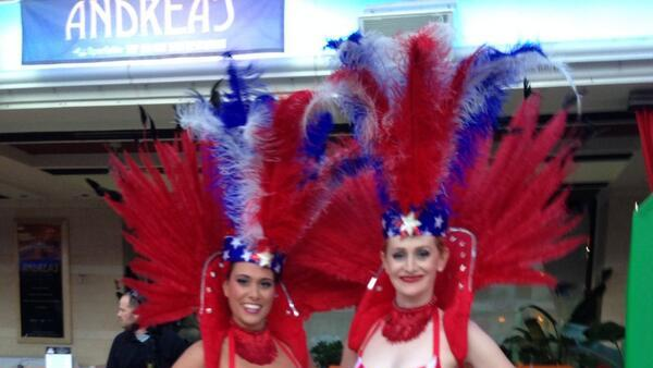 What's Vegas without showgirls? They were dressed in patriotic to celebrate the Battle of Baltimore's  200th anniversary.
