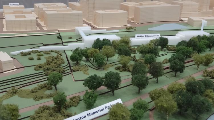 The Potomac Yard Metro, alternative B, sits about three blocks north of the Potomac Greens community, immediately south of the North Potomac Yard shopping center. It is one of two options still on the table.