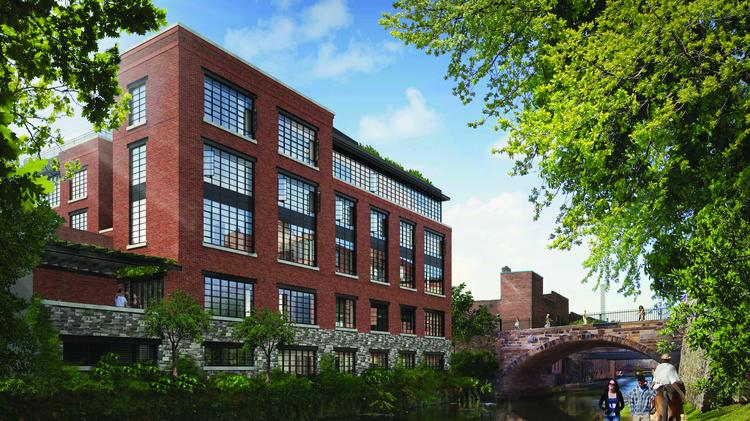 An exterior, C&O Canal-view rendering of 1055 High, a luxury condo building from EastBanc Inc.